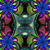 Pattern from fractal Flowers. Darkblue, green and purple palette — Stock Photo