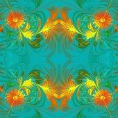 Flower pattern. Orange and blue palette. Fractal design. Compute — Stock Photo