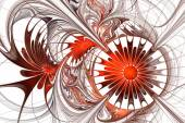 Flower background. Orange and white palette. Fractal design. Com — Stock Photo