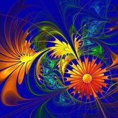 Flower background. Orange and darkblue palette. Fractal design.  — Stock Photo