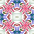 Fabulous symmetrical pattern of the petals. Pink, blue and green — Stock Photo #61700361