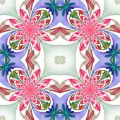 Fabulous symmetrical pattern of the petals. Pink, blue and green — Stok fotoğraf