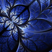 Fabulous fractal pattern in darkblue. Collection - tree foliage. — Stock Photo