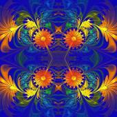 Flower pattern. Orange and darkblue palette. Fractal design. Com — Stock Photo