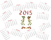 2015 Calendar. Two goats made of vegetables — Stock Photo