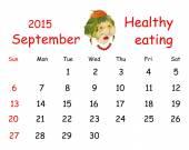 2015 Calendar. September. Funny portrait made ??of vegetables an — Stock Photo