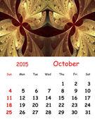 2015 kalender. October.Fractal patroon in gebrandschilderd glas stijl. — Stockfoto