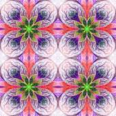 Pattern from fractal flowes in pink, green and darkblue. Compute — Stock Photo