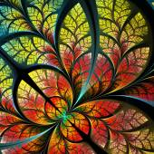 Fabulous fractal pattern in yellow and red. Collection - tree fo — Stock Photo