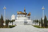 Ashgabat, Turkmenistan - October, 10 2014: Sculptural compositio — Stock Photo