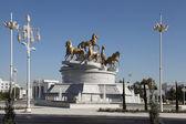 Ashgabat, Turkmenistan - October, 15 2014: Sculptural compositio — Stock Photo