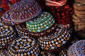 Embroidered skull-caps. Turkmenistan. Ashkhabad — Stock Photo