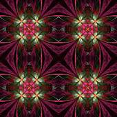 Symmetrical flower pattern in stained-glass window style. Green, — Stock Photo