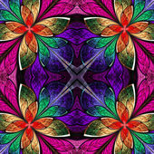 Symmetrical multicolored pattern in stained-glass window style.  — Fotografia Stock