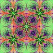 Pattern from fractal flowes in green, purple and pink. Computer — Stock Photo
