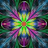 Multicolored symmetrical fractal flower in stained-glass window  — Stock Photo