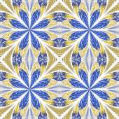 Symmetrical pattern in stained-glass window style. Blue and beig — Photo