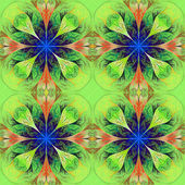 Pattern from four fractals  in green, brown and darkblue. Comput — Stock Photo