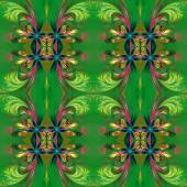 Beautiful symmetrical background from fractal tracery. On green. — Stock Photo