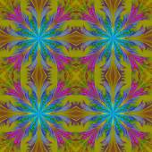 Beautiful pattern from fractal flowers. Blue and olive palette. — Stock Photo