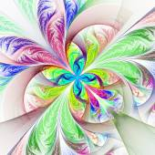 Diagonal symmetric multicolored fractal tracery. Collection - frosty pattern. On white. — Stock Photo