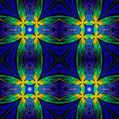 Symmetrical flower pattern in stained-glass window style on blac — Stock Photo