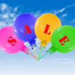 Flying group of balloons, concept of sale message for shop — Stock Photo #69471549