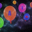 Flying group of balloons in the night sky. Concept of sale messa — Stock Photo #69993265