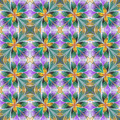 Multicolored symmetrical pattern in stained-glass window style o — 图库照片