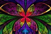 Multicolored symmetrical fractal pattern as flower or butterfly  — Stock Photo