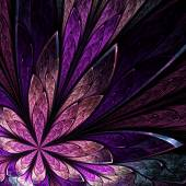 Asymmetrical fractal flower in stained-glass window style on bla — Stock Photo
