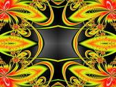 Flower pattern in fractal design. Orange and red palette. Comput — Stock Photo
