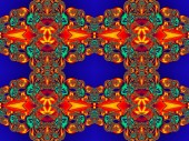 Flower pattern in fractal design. Orange and blue palette. Artwo — Stock Photo