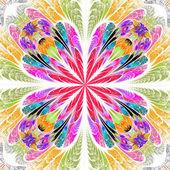 Multicolored symmetrical fractal flower in stained-glass window  — Stok fotoğraf
