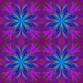 Beautiful pattern from fractal flowers. Blue and purple palette. — Stock Photo