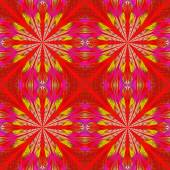 Symmetrical pattern in stained-glass window style. Red and yello — Zdjęcie stockowe