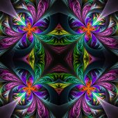 Symmetric multicolored fractal tracery. Collection - frosty patt — Stock Photo