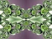 Flower pattern in fractal design. Green and violet. Computer gen — Stok fotoğraf