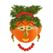 Healthy eating. Funny woman face made from fruits and vegetables — Stock Photo