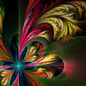 Diagonal asymmetrical multicolor fractal tracery. Collection - f — Stock Photo