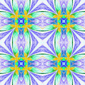 Symmetrical flower pattern in stained-glass window style on light. Green, yellow and  dark-blue palette. Computer generated graphics. — Stock Photo