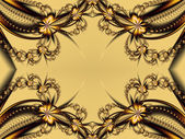 Flower pattern in fractal design. Beige and brown palette. Computer generated graphics. — Stock Photo