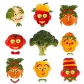 Conjunto criativo do conceito de comida. Alguns retratos engraçados de vegeta — Fotografia Stock