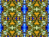 Flower pattern in fractal design. Green, yellow and blue. Comput — 图库照片