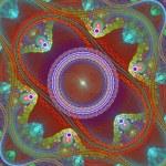 Symmetrical grid fractal pattern. Blue and brown palette. Comput — Stock Photo #75986411