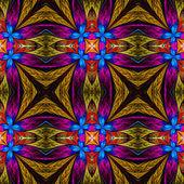 Symmetriska blommönster i glasmålning stil på blac — Stockfoto