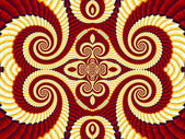 Symmetrical Pattern from Spiral fractal. Yellow and brown palett — Stok fotoğraf