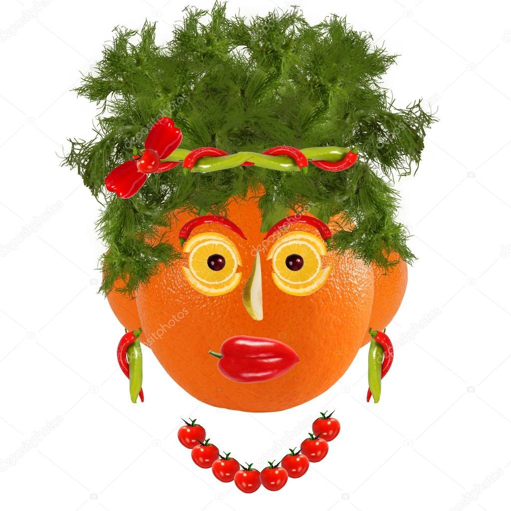 Zdrowe odżywianie twarz kobiety śmieszne wykonane z