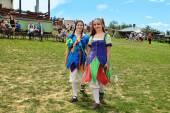 Vatra, Moldova. June 28, 2015. Medieval Festival. Historic clubs — Stock Photo