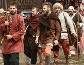 Vatra, Moldavia. 28 de junio de 2015. Festival medieval. Clubes históricos — Foto de Stock